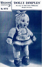 Vintage Dolly Dimples Rag doll knitting pattern. Laminated copy.