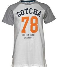 Homme GOTCHA College Raglan T-shirt en coton-Manches Courtes Jersey Tee S Bnwt