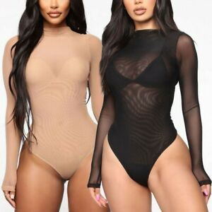 Women Sexy See-Through Lingerie Solid Color Long Sleeve Mesh&Lace Jumpsuits S-XL
