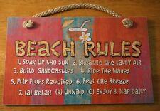 New ListingBeach Rules Pool Tiki Bar Sign Coconut Tropical Drink Coastal Island Home Decor