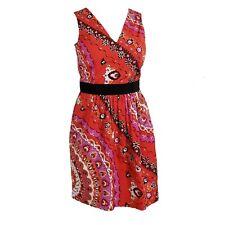EMILIO PUCCI Signed Cotton Pink Red Orange Floral Print Dress Sz 42 US 6 $1565