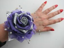 Purple & Silver  Wrist Corsage Prom / Wedding Flowers Rose Bride Maid Mother