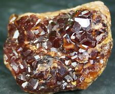 Perfect Red Spessartine Garnet Crystals Matrix Gemmy Red Orange garnet specimen