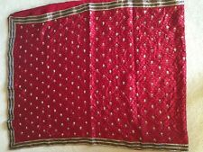 Indian Bollywood Sari Designer Saree Stitched Blouse Drape Scarf Maroon