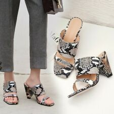 Womens Snakeskin Synthetic Leather Slides Peep Toe Mules Shoes Cone Heel Sandals