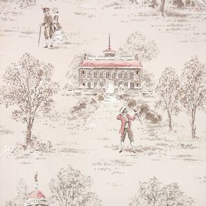 1940s Scenic Vintage Wallpaper Colonial Scenes of Brown and Pink on Beige