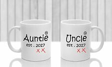 New Aunt new Uncle mugs x 2 PERSONALISED, Auntie Uncle gift for new baby