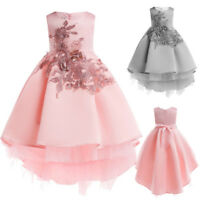 Floral Baby Girl Princess Bridesmaid Pageant Gown Birthday Party Tunic Dress UK