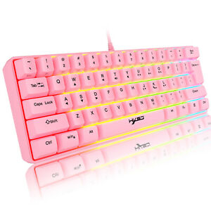 60% Wired Gaming Keyboard 61 Keys Portable RGB Backlit Keycap for PC Laptop PS4