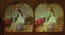 La bonita peluquera Afeitado Escena de género Estéreo Tejido Polyorama ca 1860