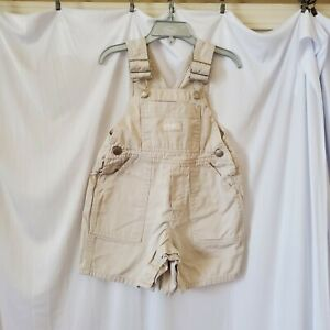 OshKosh B'Gosh Toddle Girl 2T Tan Beige Short Overalls Adjustable