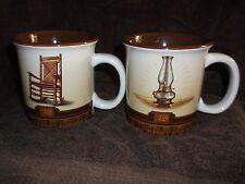 "2 Cracker Barrel Country Store Ceramic Coffee Mugs Rocking Chair Lantern 4""H 4""W"