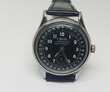 RARE VINTAGE ORIS CALENDAR POINTER BLACK DIAL MANUAL WIND MID SIZE WATCH