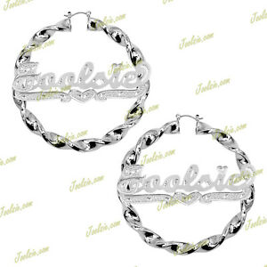 """Personalized 3:00"""" Gold / 2TONE / Silver Twist  Name Hoops Earrings (LARGE)"""