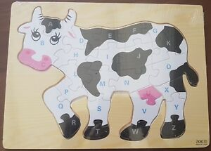 Big Wooden Educational Toddler Children Animal Cow Shape Letter Jigsaw Puzzle
