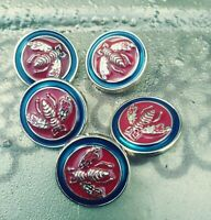 Gucci RED & BLUE Buttons Gold Bee Replacement Sewing Accessory 5 PC.