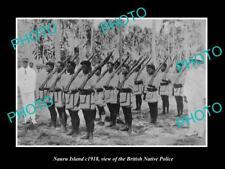 OLD LARGE HISTORIC PHOTO OF NAURU ISLAND, VIEW OF THE BRITISH NATIVE POLICE 1918