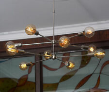 Modern Brass 10 arms Sputnik chandelier Chromed brass Light Fixture
