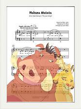 Music Sheet Score Page Art Print Poster Hakuna Matata Lion King ,Childrens Room