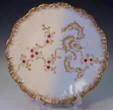 AK Klingenberg LIMOGES Raised Gold Gilt Hand Painted Blue and White Plate