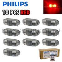 (RED) 10x Philips 12-24V MasterLife LED Bubble Side Marker Lamp Truck Trailer
