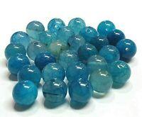 Natürliche Streifen Achat Perlen Rund Indische Sapphire Blau 8mm Edelsteine G40
