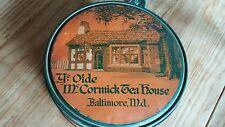 ANTIQUE YE OLDE McCORMICK TEA HOUSE ROUND TIN BALTIMORE MD 1936 GREAT COLOR