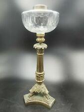ANCIENNE GRANDE LAMPE BACCARAT? à PETROLE en BRONZE au PIED PATE DE LION EMPIRE