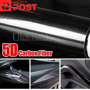 5D 1.51M x 50cm Black Carbon Fibre Fiber Vinyl Car Wrap Air Release Gloss Film
