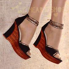 Ladies High Heel Ankle strap wedges Open Toe Sandal diamante Platform shoe 20231