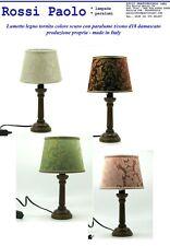 Lumetto lampada da comodino abat jour legno tornito colore scuro - made in Italy