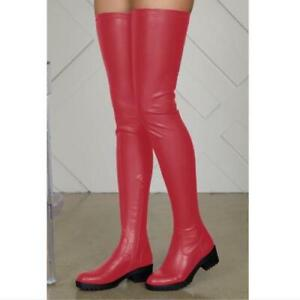Ladies Womens Over The Knee Thigh High Boots Stretch Low Heels Shoes 45 46 47 L