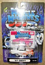 1/64 Muscle Machines 57 Chevy Pearl White w Flames 01-82