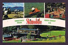 LMH Postcard  SKIMOBILE Car Tram GREETINGS FROM NORTH CONWAY NH Base Statin 1973