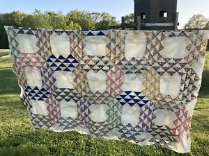 Vintage Hand-pieced Quilt Top 1940's /50's Fabric Project Full Size