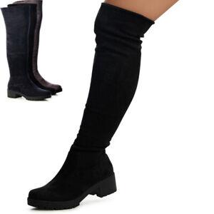 Damen Stiefel Overknee Overknees Plateau Boots Blockabsatz Velours