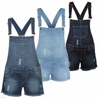 Ladies Stretchable Dungaree Shorts Braces Hot Pants One Piece Womens Playsuit
