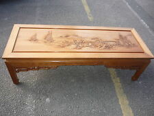Chinese Wooden Carved Picture Long Tea Coffee Table