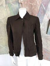 Ellen Tracy Brown Silk Linen One Button One-Button Blazer Jacket Size 2