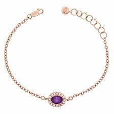 14k Rose Gold 1.08ctw Amethyst & Diamond Adjustable Bracelet