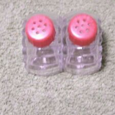 Vintage 1940's Clear Glass Shell-Shaped SALT & PEPPER SHAKERS with Red Tops