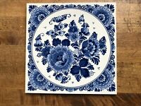"Vintage Blue and White Ceramic Decorative Tile Delft Blauw Holland Floral 6"""