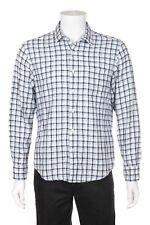 TOSCANO Shirt Medium Cotton Linen Blend Blue White Button Down Long Sleeve Plaid