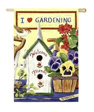 Pansies & Friends I Love Gardening Country Folk Welcome Summer Mini Garden Flag