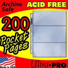 3 POCKET CURRENCY COUPON STORAGE REFILL PAGES 200 ACID FREE ULTRA PRO 203D-200