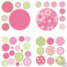 Polka Dot 42 Wall Pops Stickers PINK GREEN Room Decor Girls Decals FLOWERS BR14
