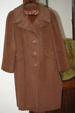 vintage light brown TAN Baby Llama Hair 3/4 long Trench TOP coat 10 12 L LARGE