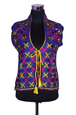 Free Shipping in US - Hand Embroidered Silk Phulkari Vest Free-size Jacket with