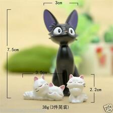3pcs Studio Ghibli Kiki's Delivery Service Jiji white cat DIY Action Figure Gift