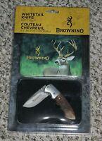 NEW Browning Whitetail Knife Gift Set in Collectible Deer Tin Folding Locking